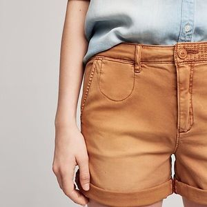 Anthropologie chino relaxed mustard yellow shorts
